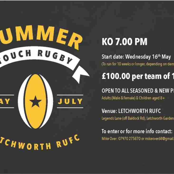 SUMMER TOUCH RUGBY AT LETCHWORTH RUGBY CLUB