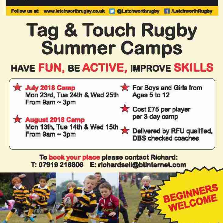 Summer Holiday Rugby Camps At Letchworth Rugby Club