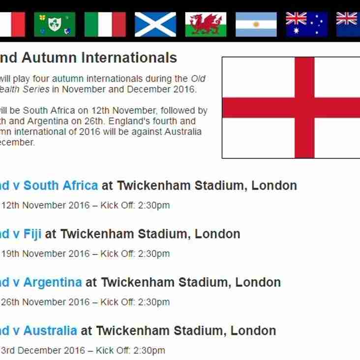 Autumn Internationals: Twickenham Ticket Applications