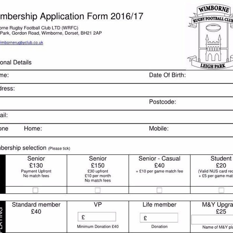 2016-2017 Club Membership Application