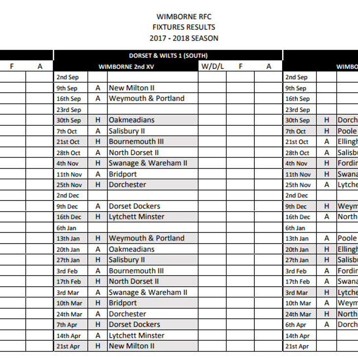 League Fixtures 2017 / 2018<