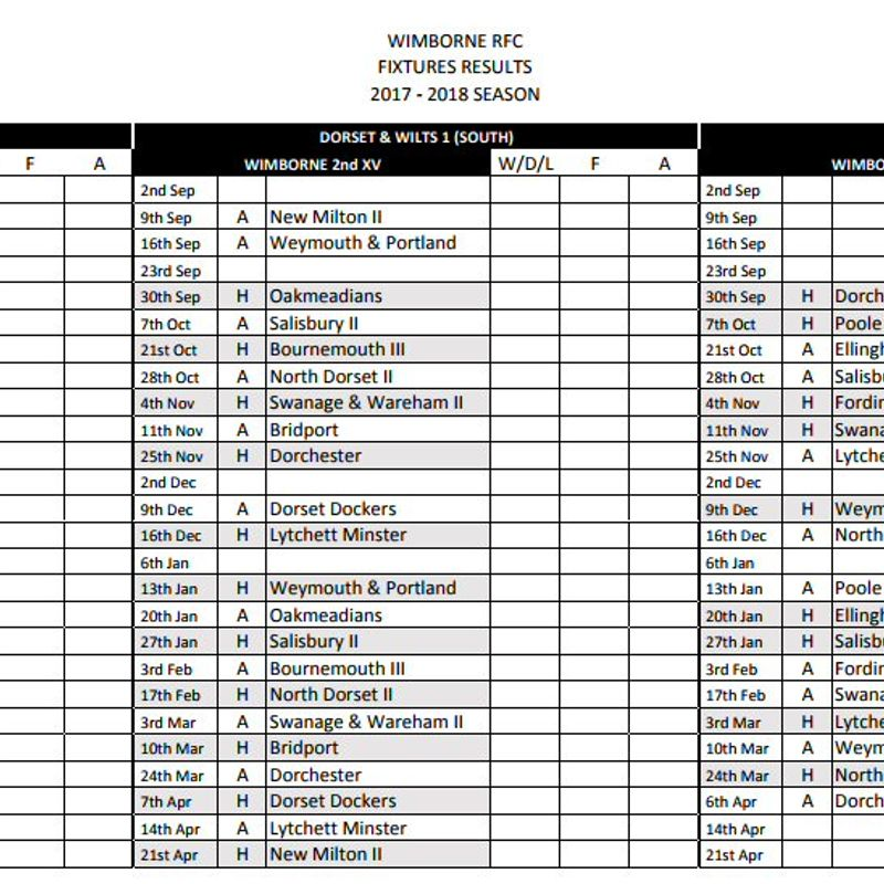 Pre-Season warm-up games, plus all league and Cup Fixtures