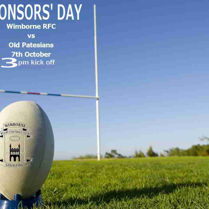 Saturday 7th October - SPONSORS' DAY at Wimborne RFC