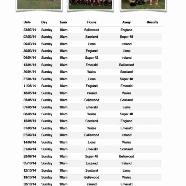 Fixture List 2014 Vets League