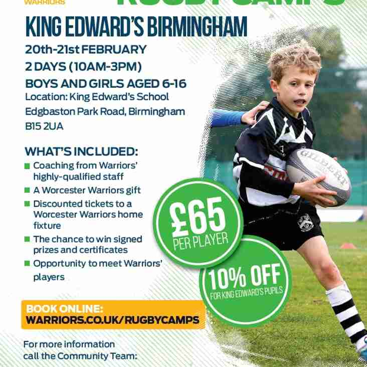 Worcester Warriors - Half Term Camp - DISCOUNT!