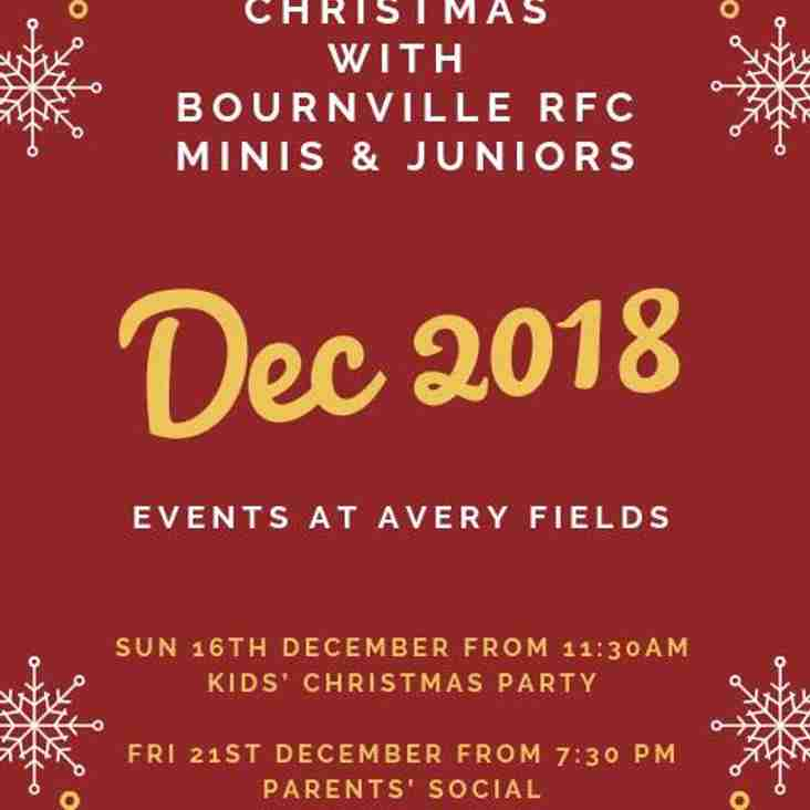 Christmas Events for the Minis & Juniors