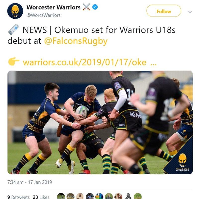 Bournville U18 to make first start for Worcester Warriors U18