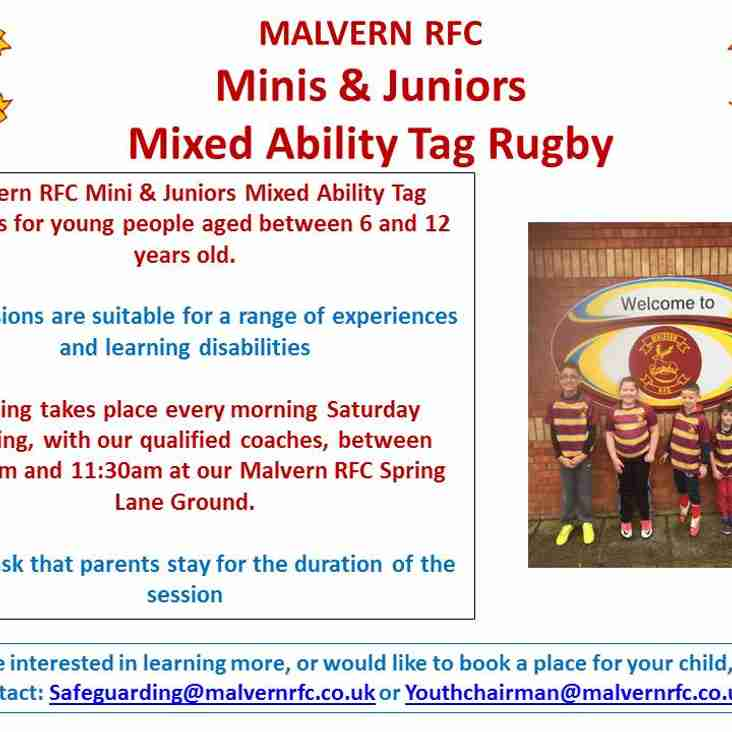 Come & Have Some Fun at Malvern RFC M&Js Mixed Ability Tag Rugby Club