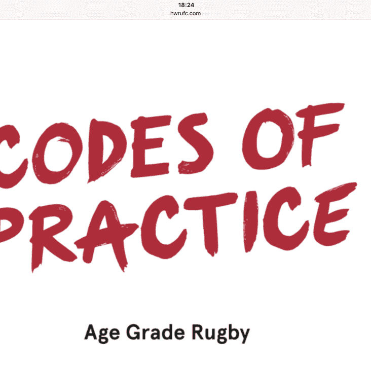 Age Grade Rugby - Codes of Practice - Malvern RFC Mini & Juniors Are In - Are You In?