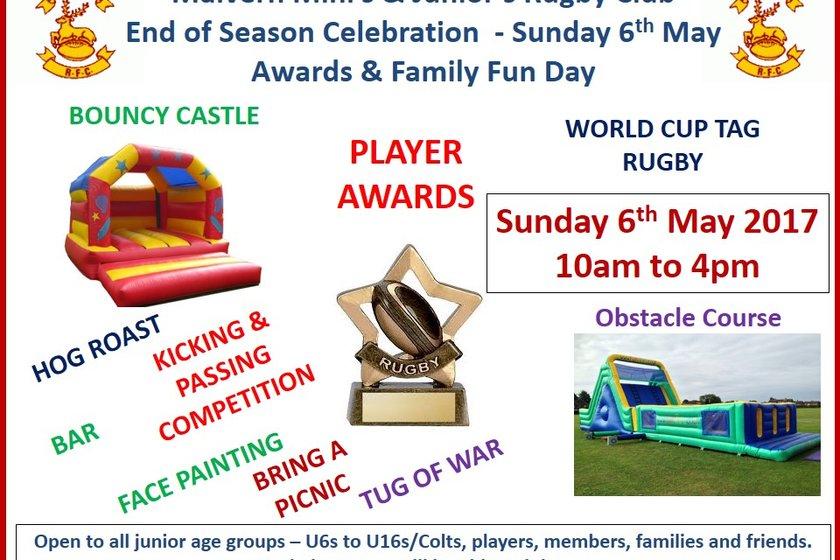 Minis & Juniors Awards and Family Fun Day - Sunday 6th May 2018