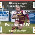Malvern RFC v Evesham RFC  -  Saturday 21st April 2018