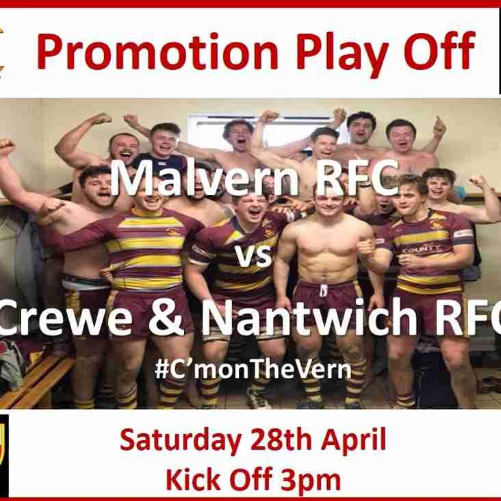 3pm  Saturday 28th April 2018  -  Malvern RFC vs Crewe & Nantwich RFC  - Promotion Decider