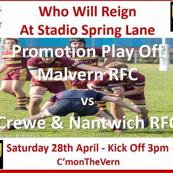 Who Will Reign At Stadio Spring Lane.....Malvern RFC v Crewe & Nantwich RFC