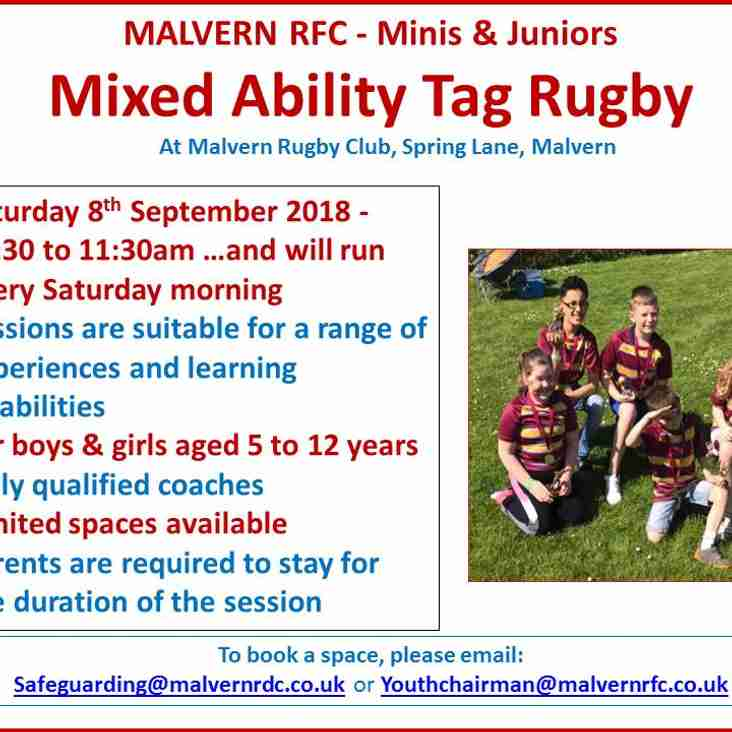 Saturday Morning Childrens Mixed Ability Tag Rugby