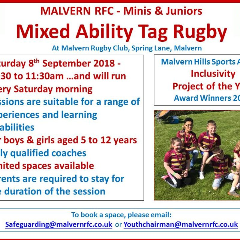 Minis & Juniors Mixed Ability Tag Rugby