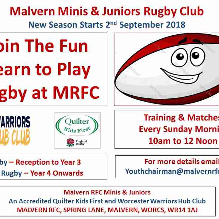 Mini & Juniors - New Season Starts - Sunday 2nd September 2018