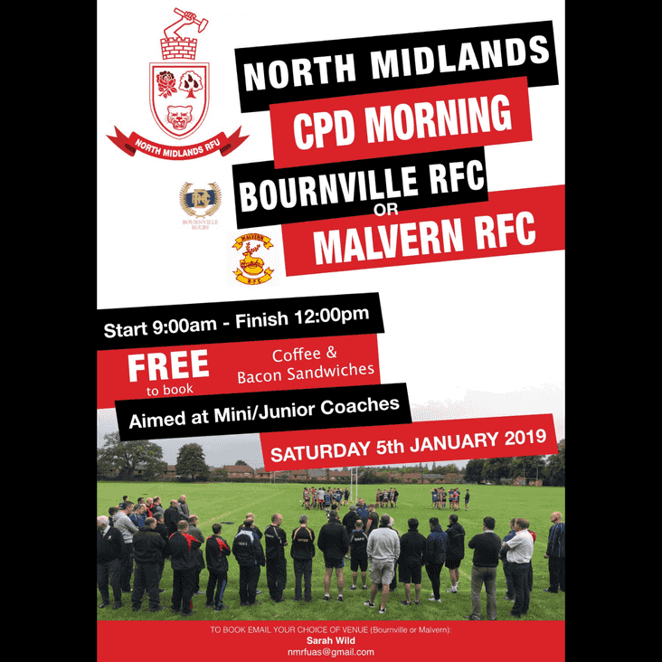 CPD Course For All Mini & Junior Coaches At Malvern RFC  - Saturday 5th January 2019
