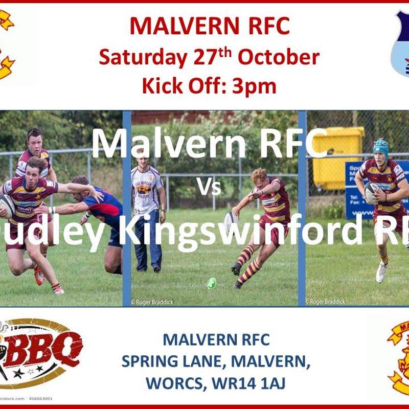 Malvern RFC vs DKRFC - Saturday 27th October - 3pm Kick Off
