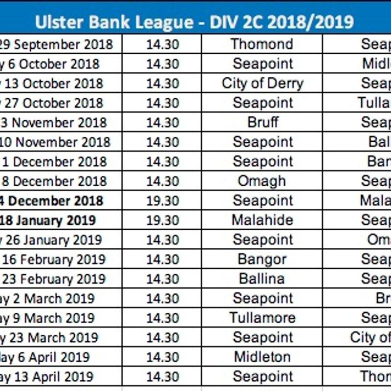 AIL Div 2C Fixtures 2018/2019