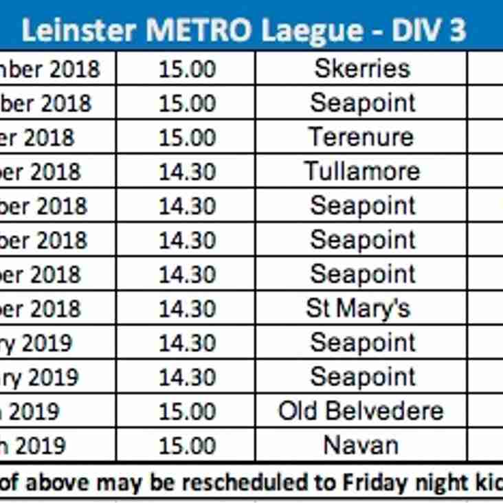 Leinster Metro League Div 3 2018/9