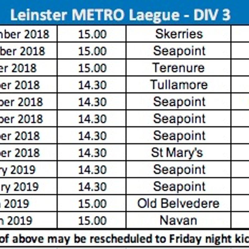 Leinster Metro League Div 3 2018/9