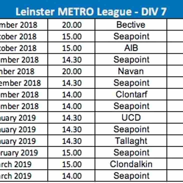 Leinster League Div 7 Fixtures (3rds)