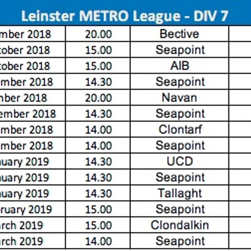 Leinster League Div 7 Fixtures (3rds)