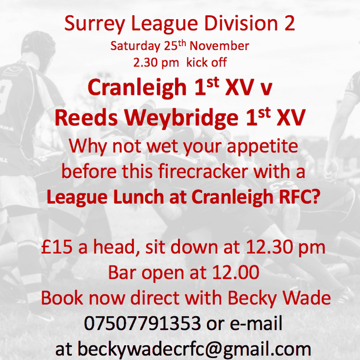 League Lunch this Saturday