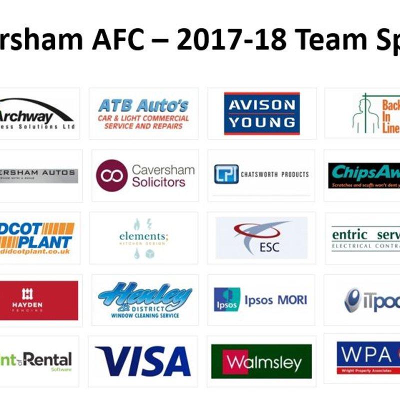 Caversham AFC 2017-18 Club Sponsors