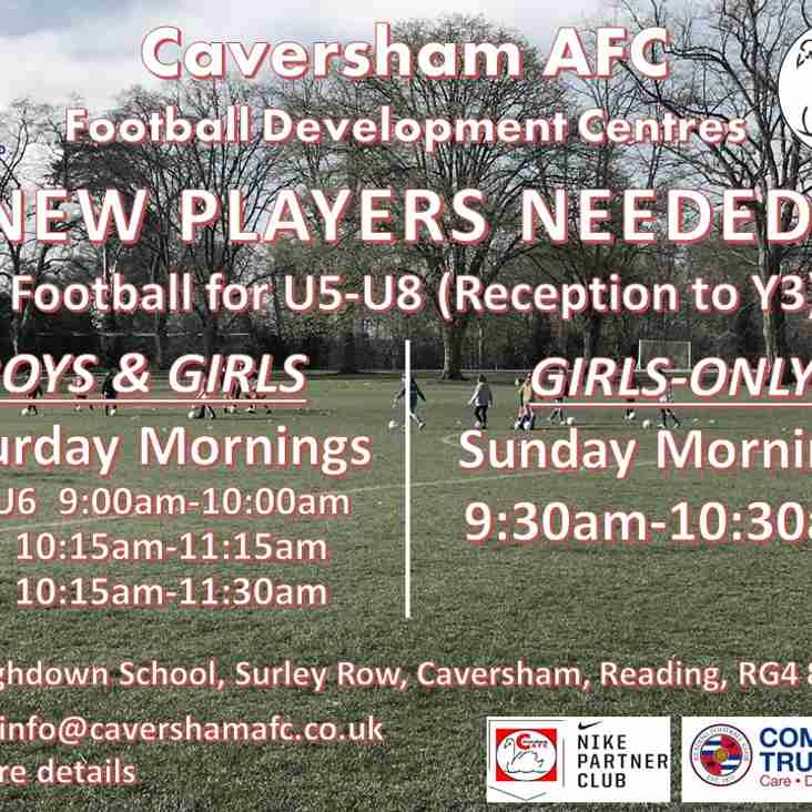New players wanted to join our U5-U8 Development Centres