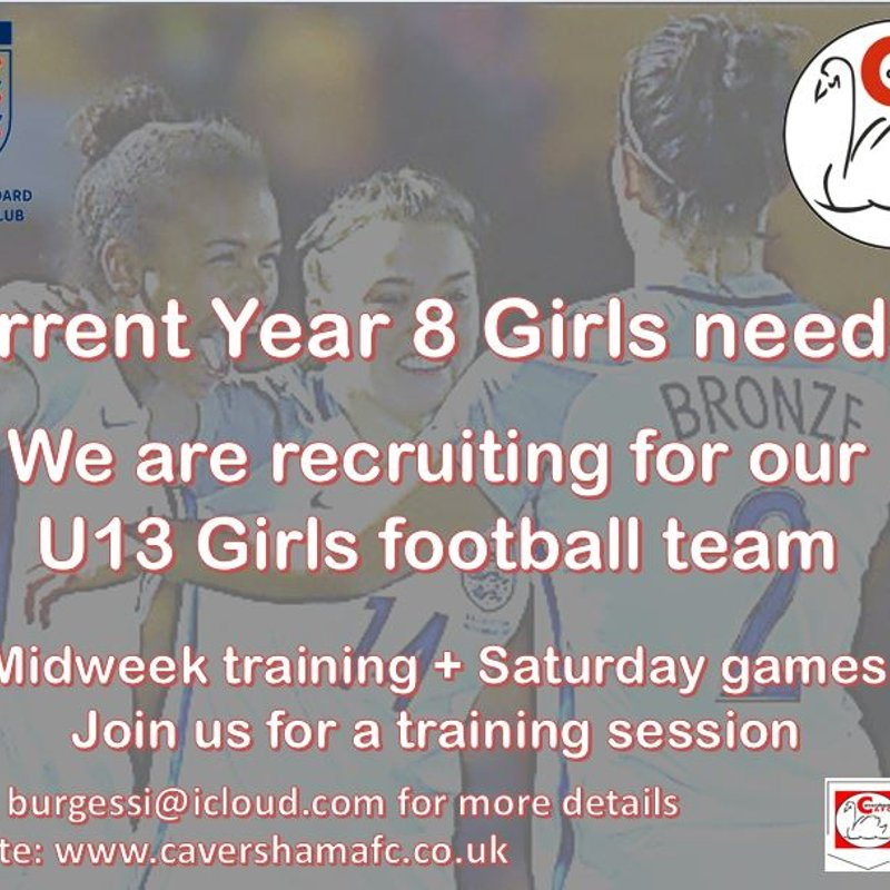 New U13 Players needed for Girls Team