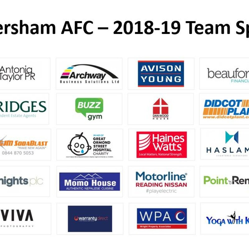 Caversham AFC 2018-19 Club Sponsors