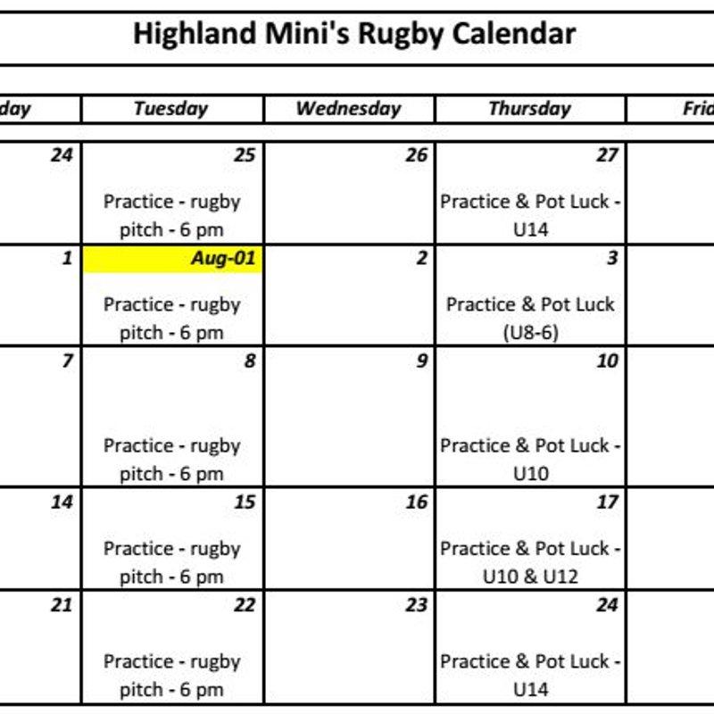Minis schedule