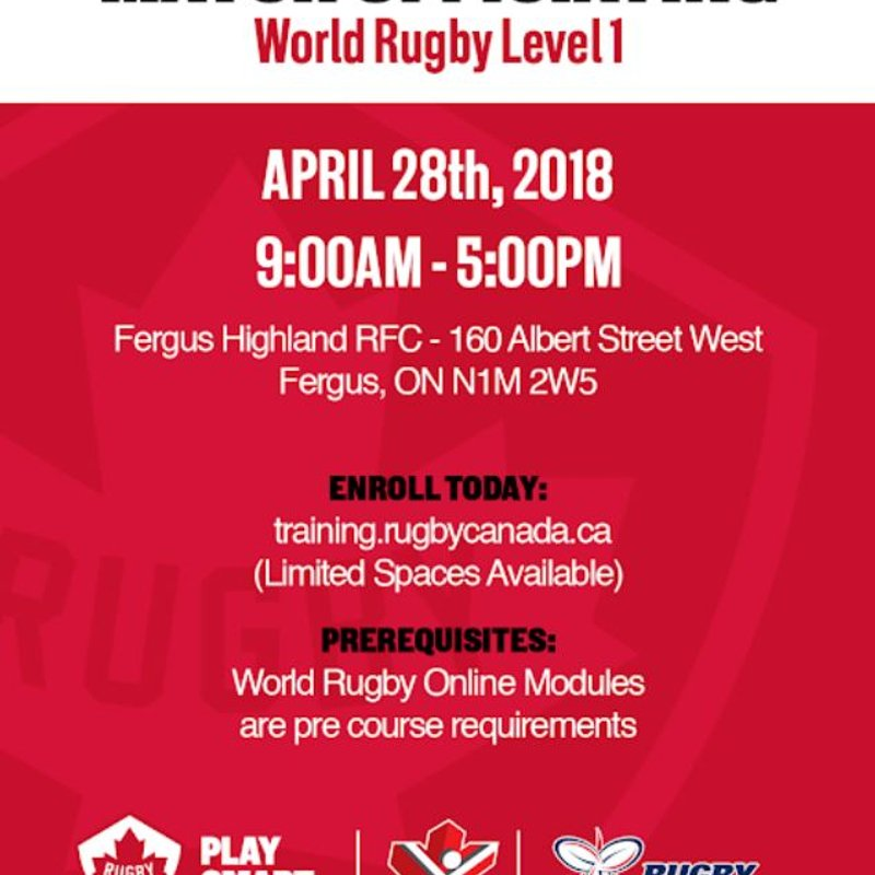 Highland Hosting Refereeing Course. April 28th.