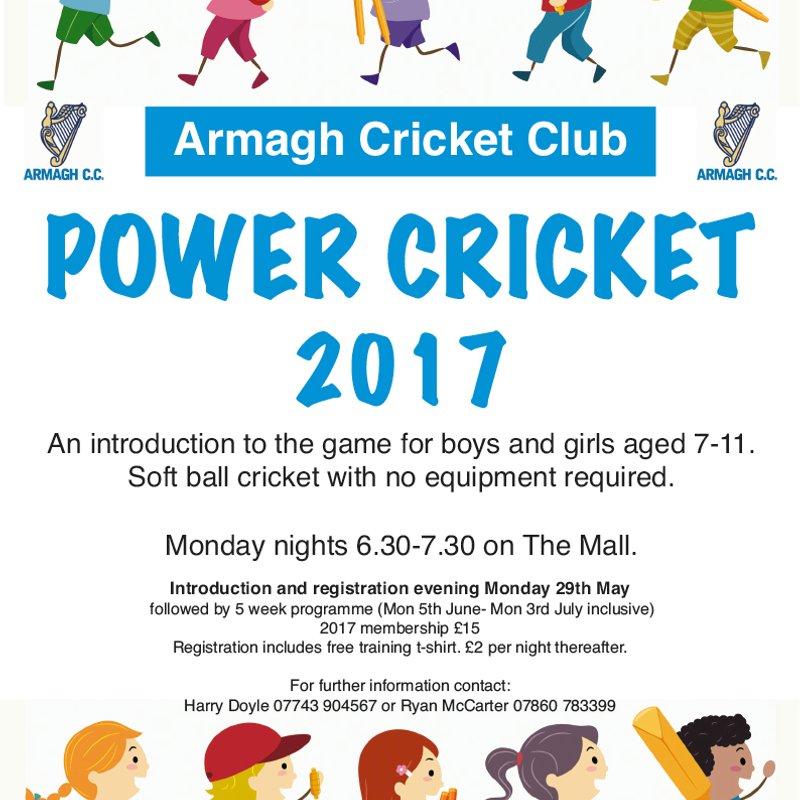 Power Cricket 2017 Registration Night 29th May