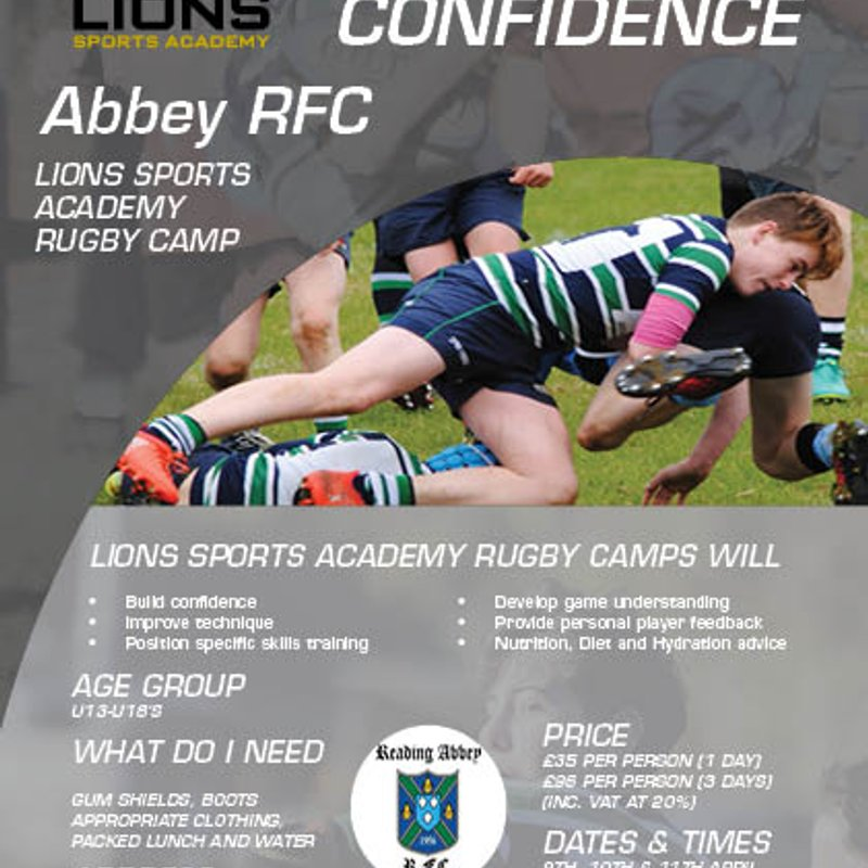 Easter Rugby Camp with Lions Sports Academy at Abbey RFC