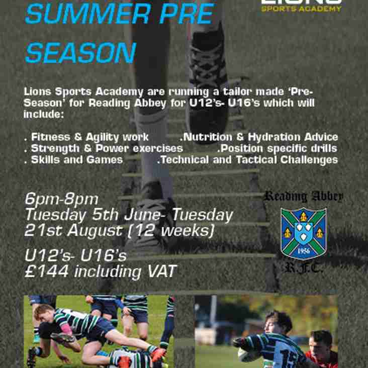 Summer Pre-seaon with Lions Sports Academy  at Abbey Rugby Club