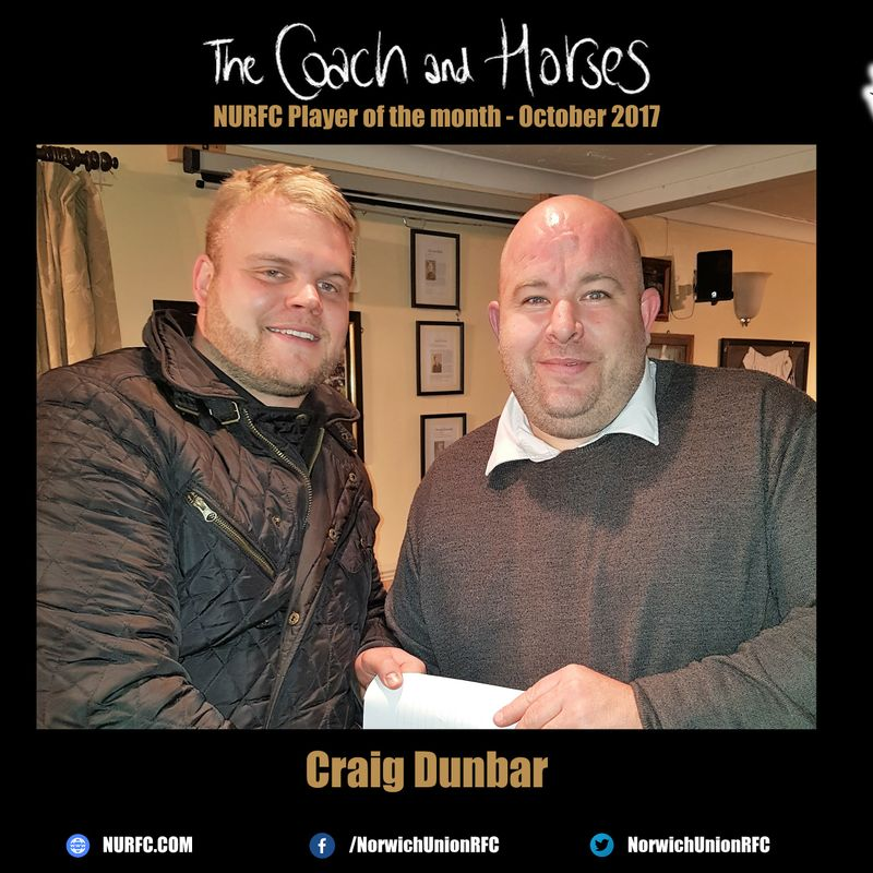 The Coach and Horses NURFC Player of the month for October 2017 is....