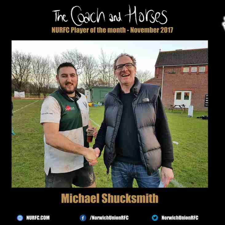 The Coach and Horses NURFC Player of the month for November 2017 is....