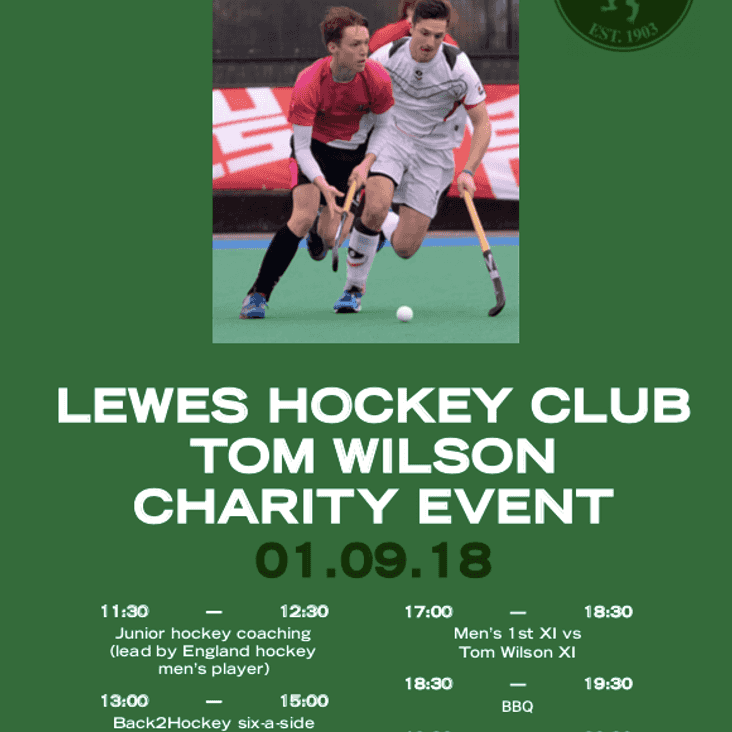 Tom Wilson Charity Hockey Day - Saturday 1st September