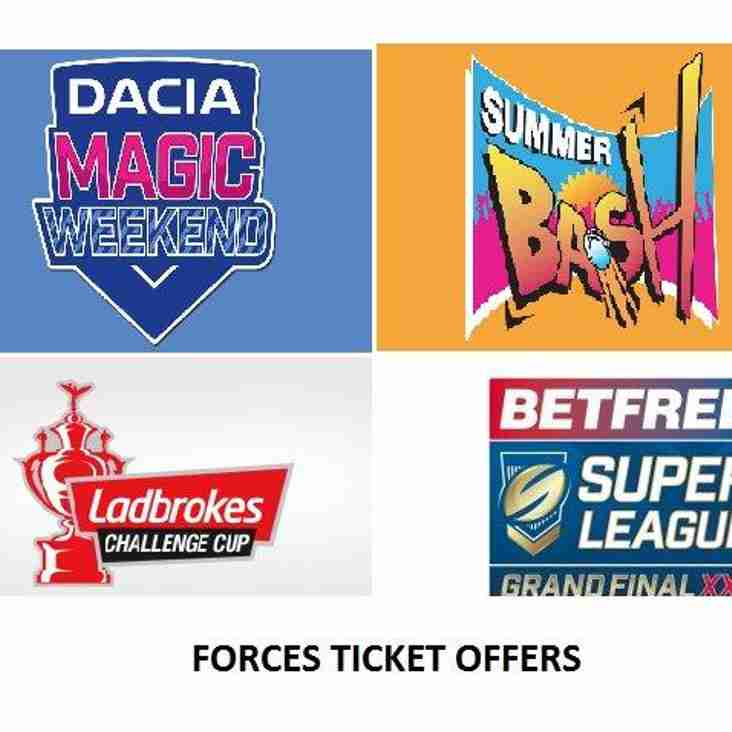 FORCES TICKET OFFERS 2017