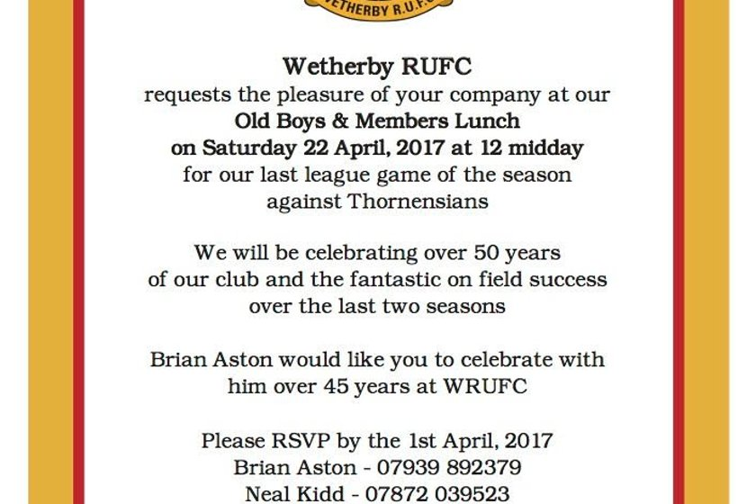 Celebrate 50 Years of Wetherby RUFC with us