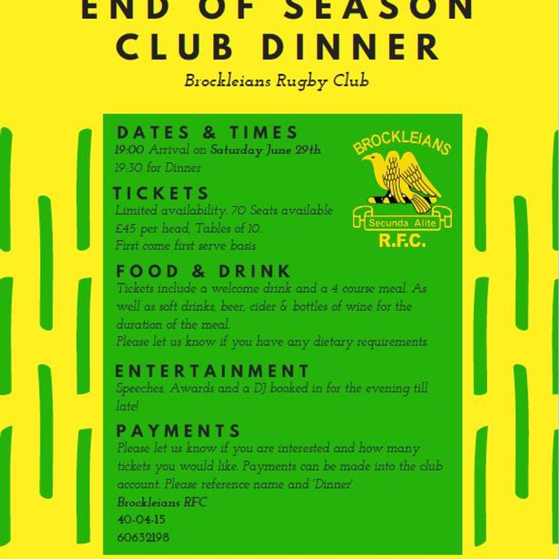 End of season club supper
