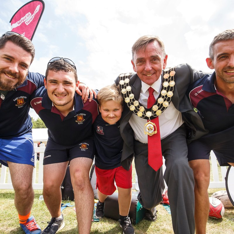YOUNG GIVE RUGBY A TRY AT MAYOR'S NEWHAM SHOW