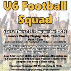 NEW U6 Squad Starts Thursday 15th September 2016
