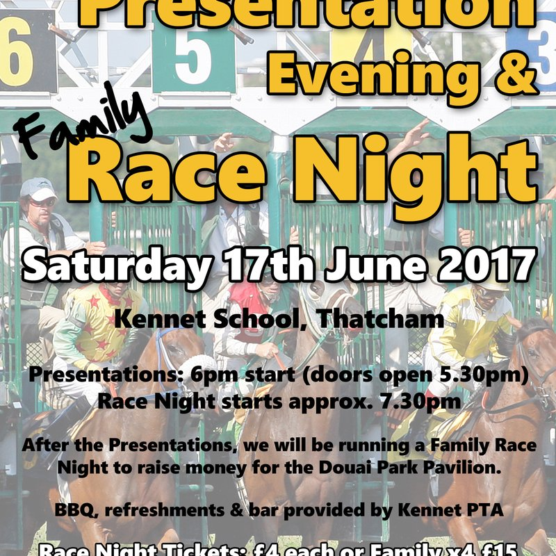 Presentation Evening and Family Race Night - Sat 17th June 2017