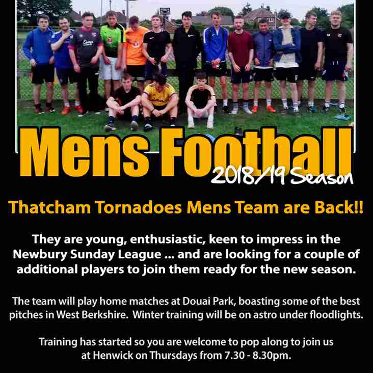 Thatcham Tornadoes Mens Team are Back!!