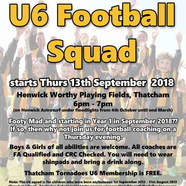 New U6 Squad - Starts September 2018