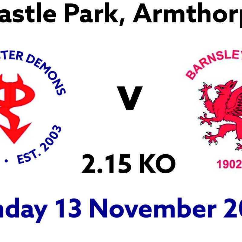 Doncaster to take on league leaders Barnsley at Castle Park 2.15 KO
