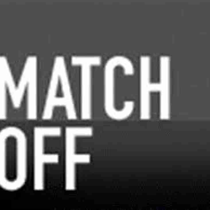 Tonights Under 18 match is OFF